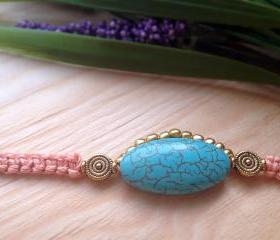 Turquoise bracelet, pastel cobra bracelet, peachy friendship bracelet